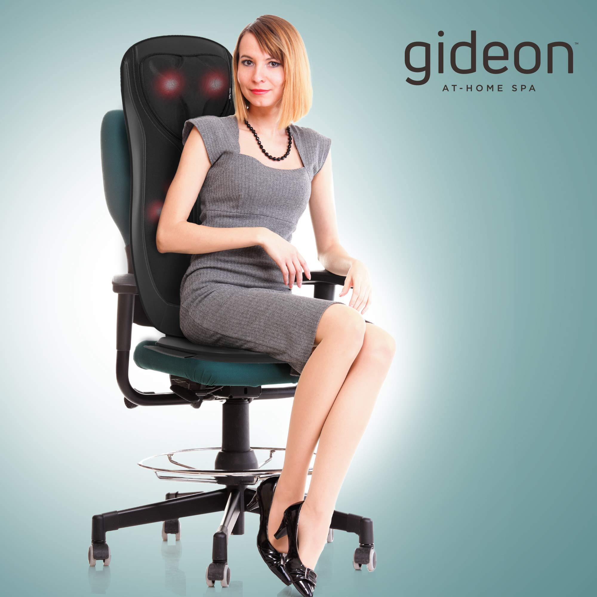 Gideon Luxury Six-Program Fully Customizable Back and Neck Massaging Cushion with Heat / Shiatsu Deep Kneading, Rolling and Vibrating – Massage Sitting Area, Full Back and Neck