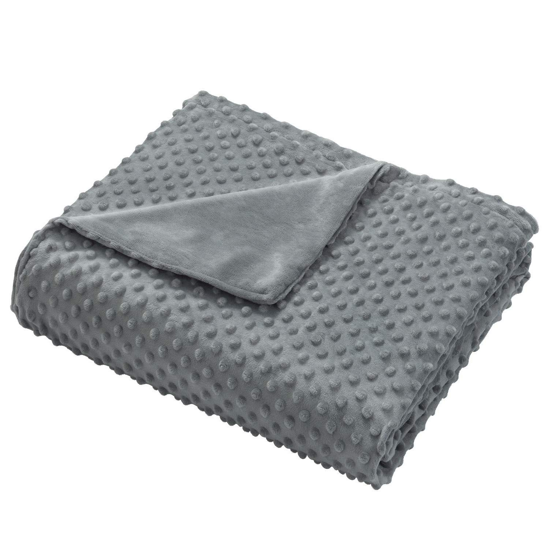 OstepDecor 60インチ x 80インチ ふわふわ 暖かい 重みのあるブランケット カバー ソフト ミンキー 取り外し可能 掛け布団カバー 重みのある毛布 ベッドスローブランケット グレー 48