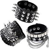 Zysta Unisex Men Women Genuine Leather Cuff Bracelet Rivet Studded Spike Dangle Chain Demon Devil Costume Punk Rock Gothic Biker 40mm Wide Adjustable Bangle Wristband Wrap