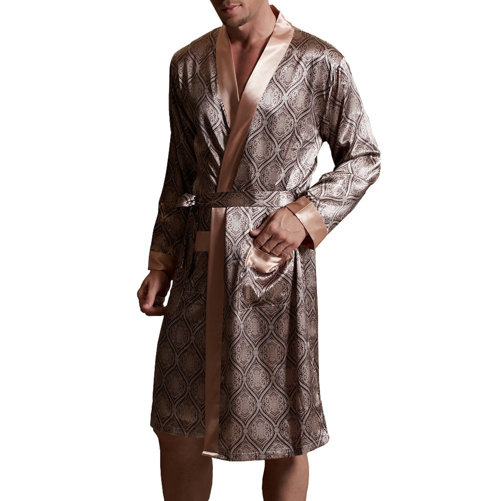 Amybria Men High Quality Silk Pajamas Nightgown/Robe One Piece ZH2047S0140