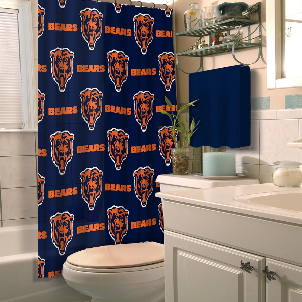 Chicago bears bathroom accessories - Amazoncom Nfl Chicago Bears Shower Curtain Sports Outdoors Chicago Bears Bathroom Accessories