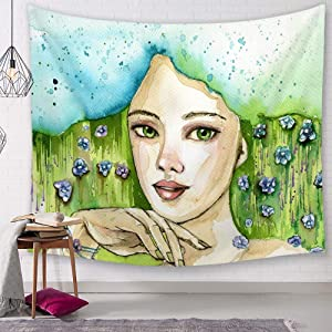 Tapestry Wall Hanging, Light Blue and Green Watercolor Girl Pattern Print Fabric, Bohemian Trippy Hippie Psychedelic Vogue Figure Wall Art Decor for Dorm Living Room,150 × 130 cm
