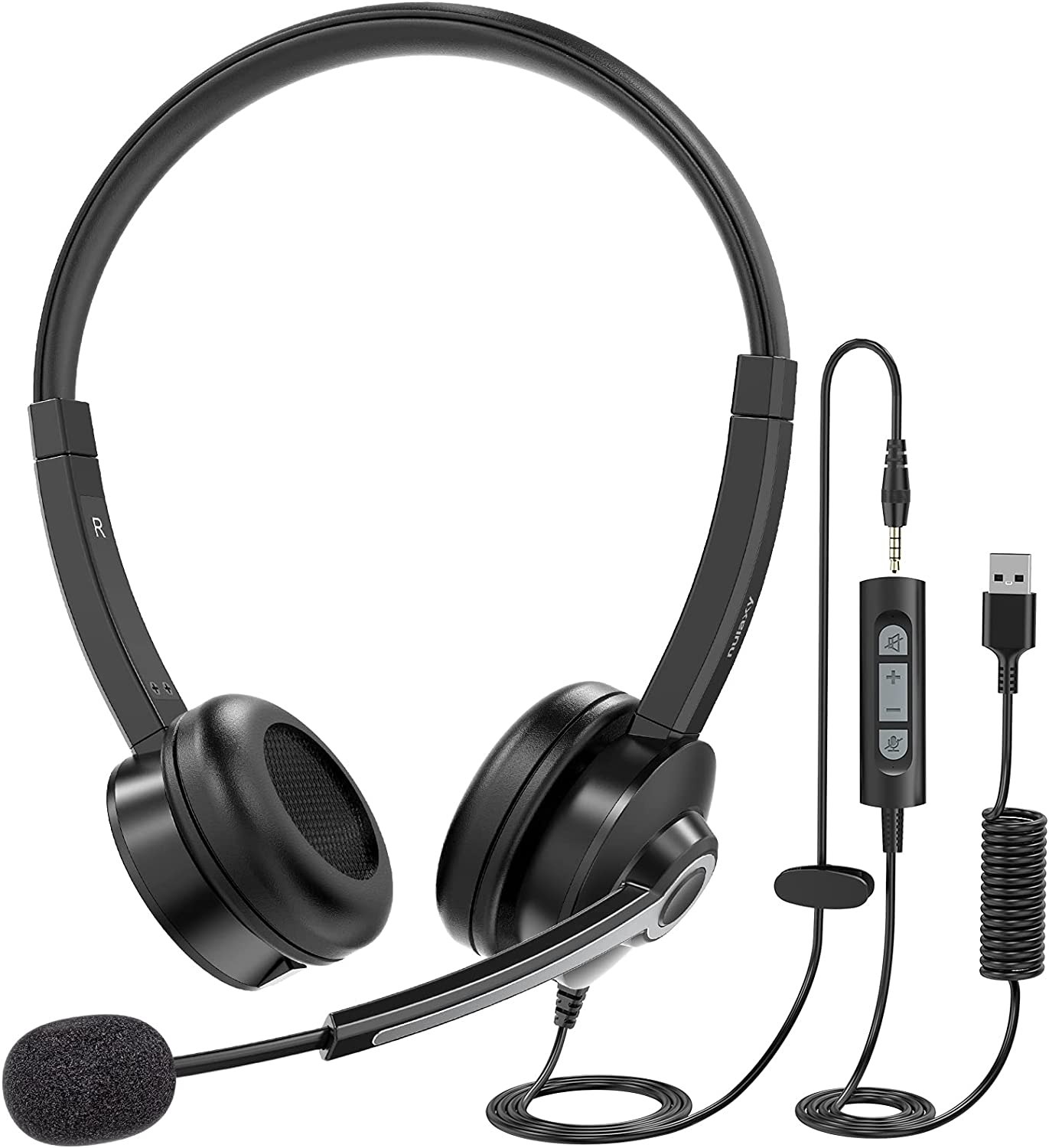 Nulaxy USB Headset with Microphone, 3.5mm Jack Headphones with Noise Cancelling Microphone, Inline Control, Lightweight Business Headset, PC Headset for Skype, Webinar, Office, Classroom, Home