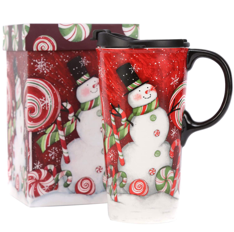 CEDAR HOME Snowman Santa Mug Travel Coffee Ceramic Tea Cup With Lid in Gift Box 17oz