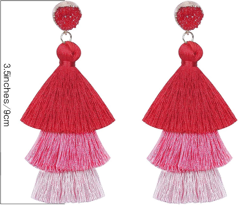 Green Tassel Tiered Tassel Necklace Long Tassel Necklace Ombre Tassel Trendy Teen Gifts