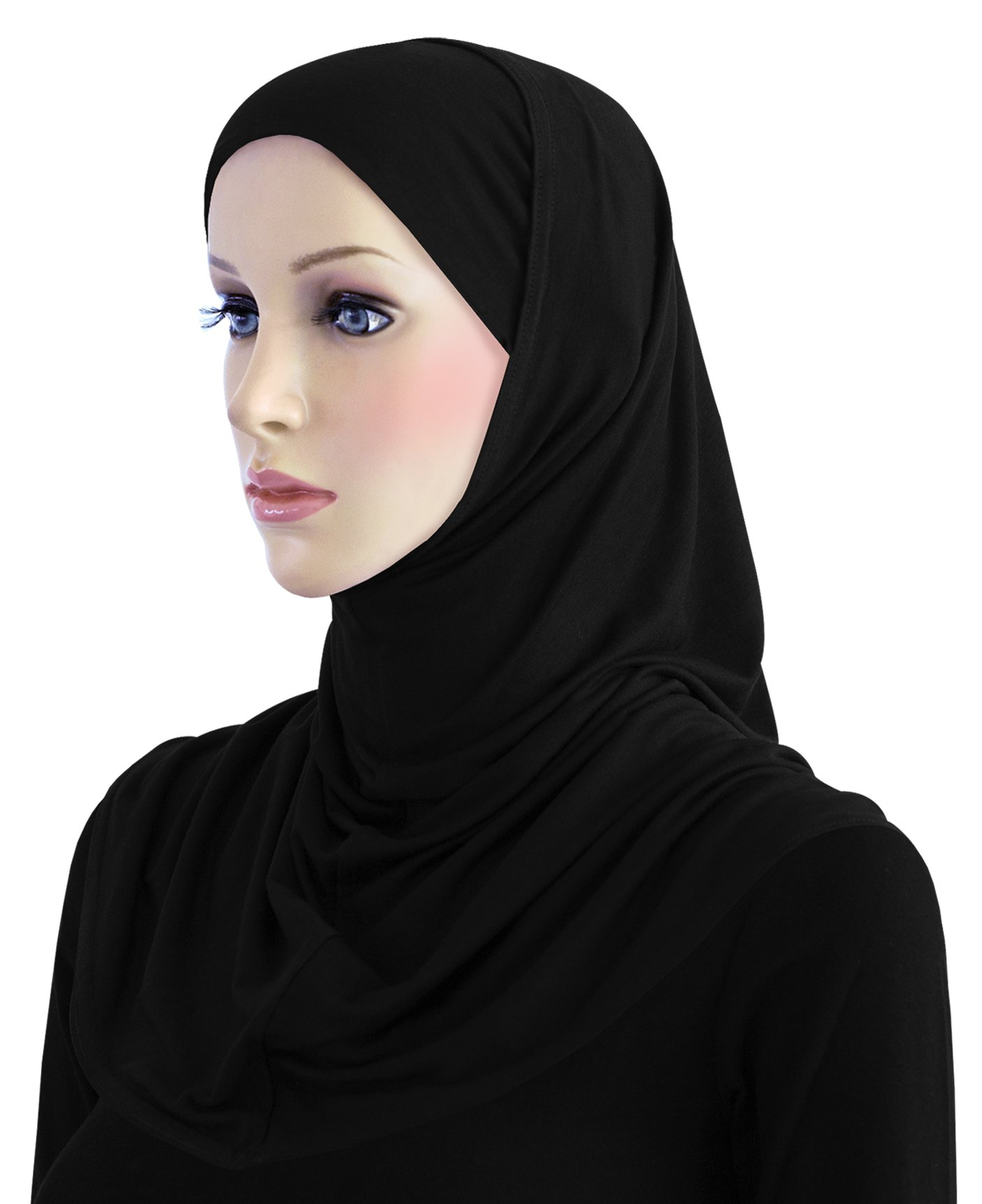 Cotton Hijab 2 piece Amira Set Easy Instant Pull-On Hood & Tube Cap (Black)