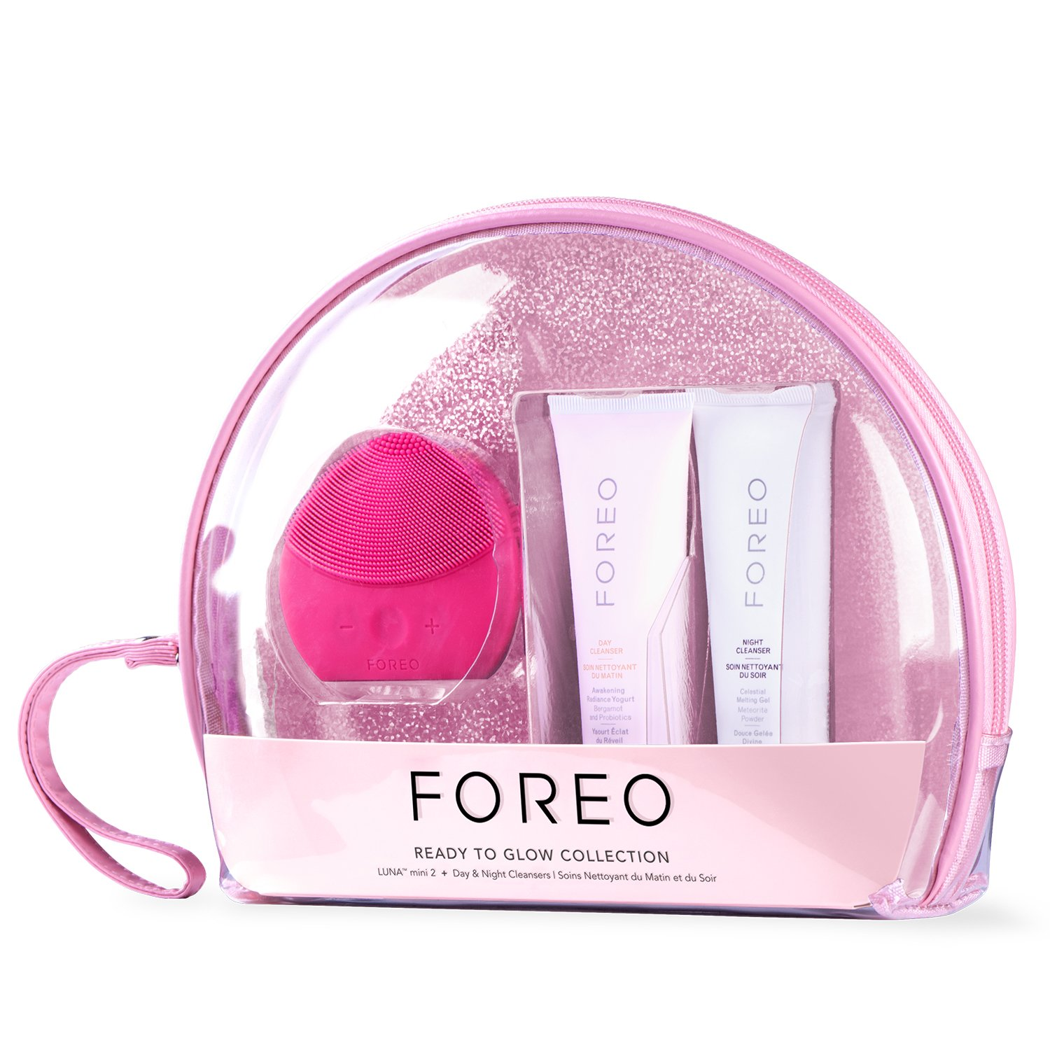 FOREO 'READY TO GLOW' Skin Care Gift Set (Includes LUNA mini 2 Facial Cleansing Brush + 60 ml Day and Night Cleansers)