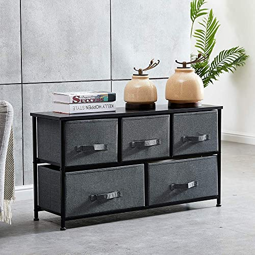 QIHANG-US Drawer Dresser Closet with 5 Fabric Drawers Organizer Unit Storage with Steel Frame Wood Top for Home Hallway Entryway Use