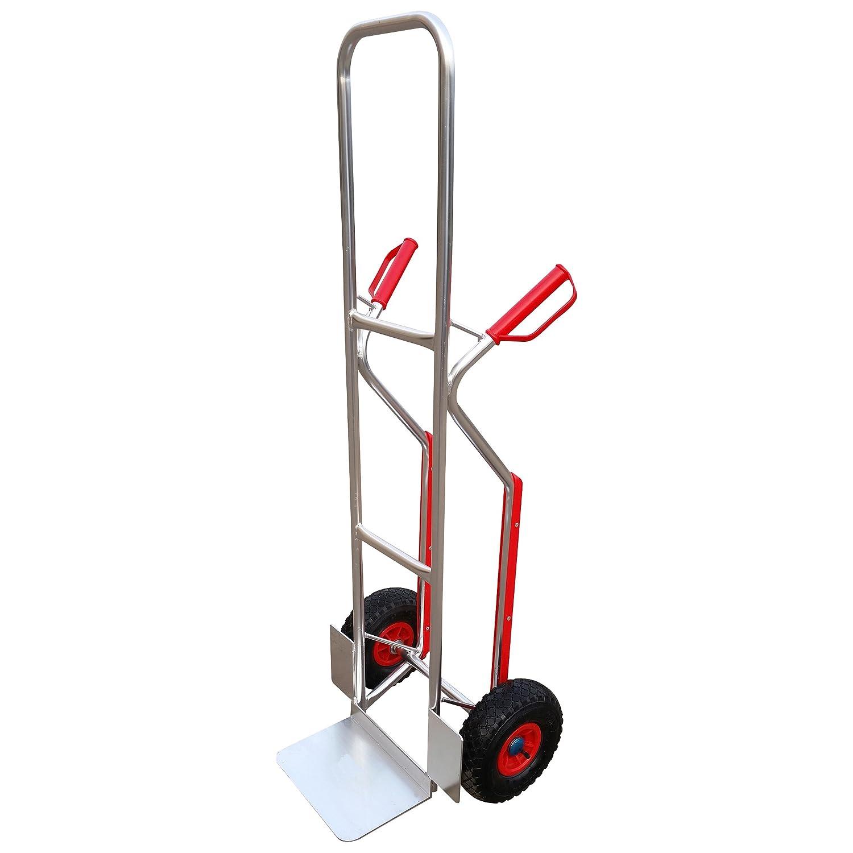 Xclou Stapelkarre aus Aluminium, Transportkarre mit maximal Tragkraft von 150 kg, circa 49 x 50 x 140 cm, silber, 124339