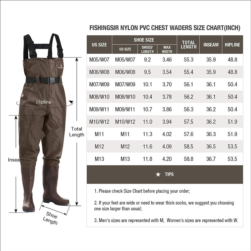 Fishing Chest Waders for Men Women Hunting Bootfoot Waterproof Nylon PVC w// Belt