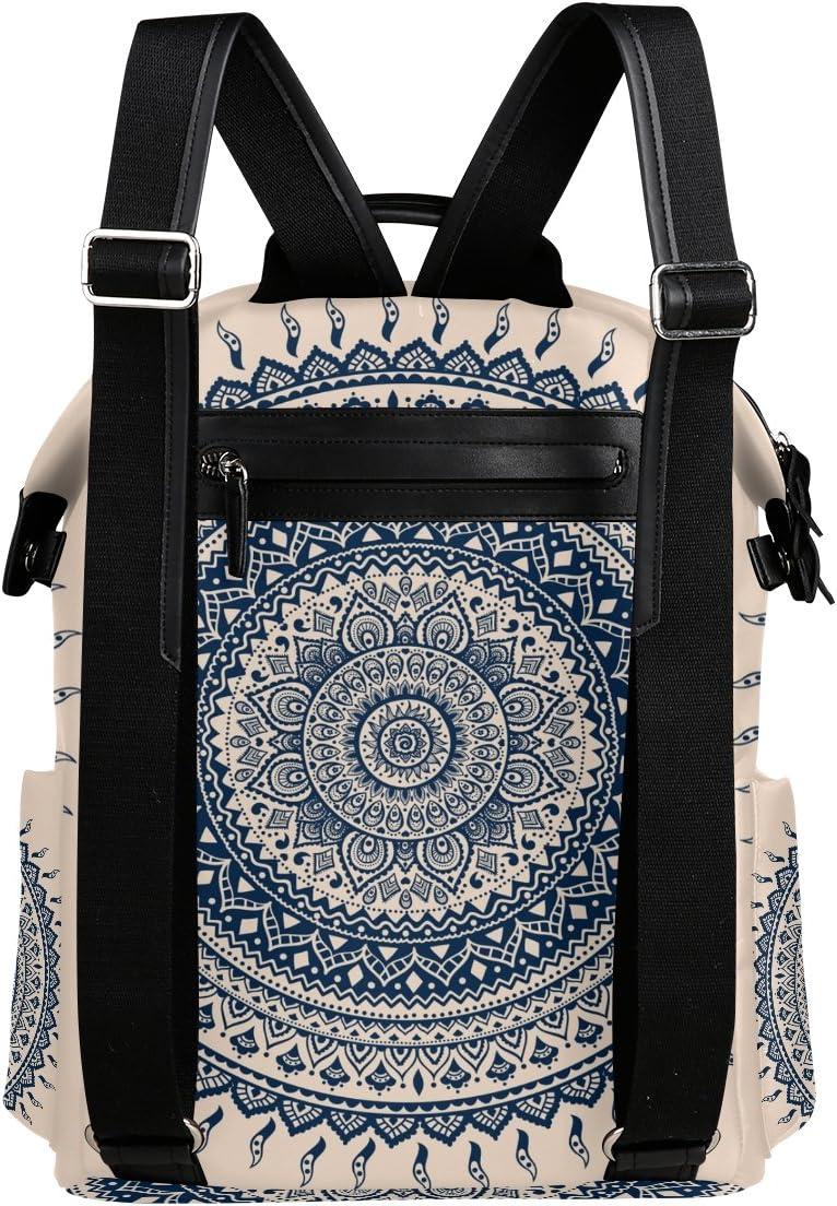 Laptop Backpack Lightweight Waterproof Travel Backpack Double Zipper Design with Round Euporean Texture Pattern School Bag Laptop Bookbag Daypack for Women Kids