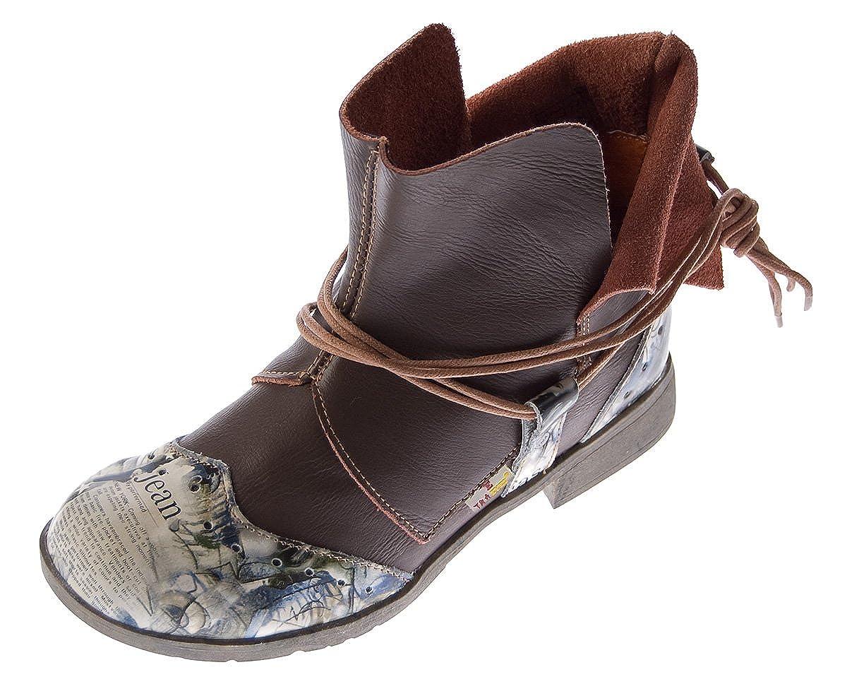 Leder Damen Winter Stiefeletten Comfort Boots Knöchel Schuhe TMA 5050 gefüttert