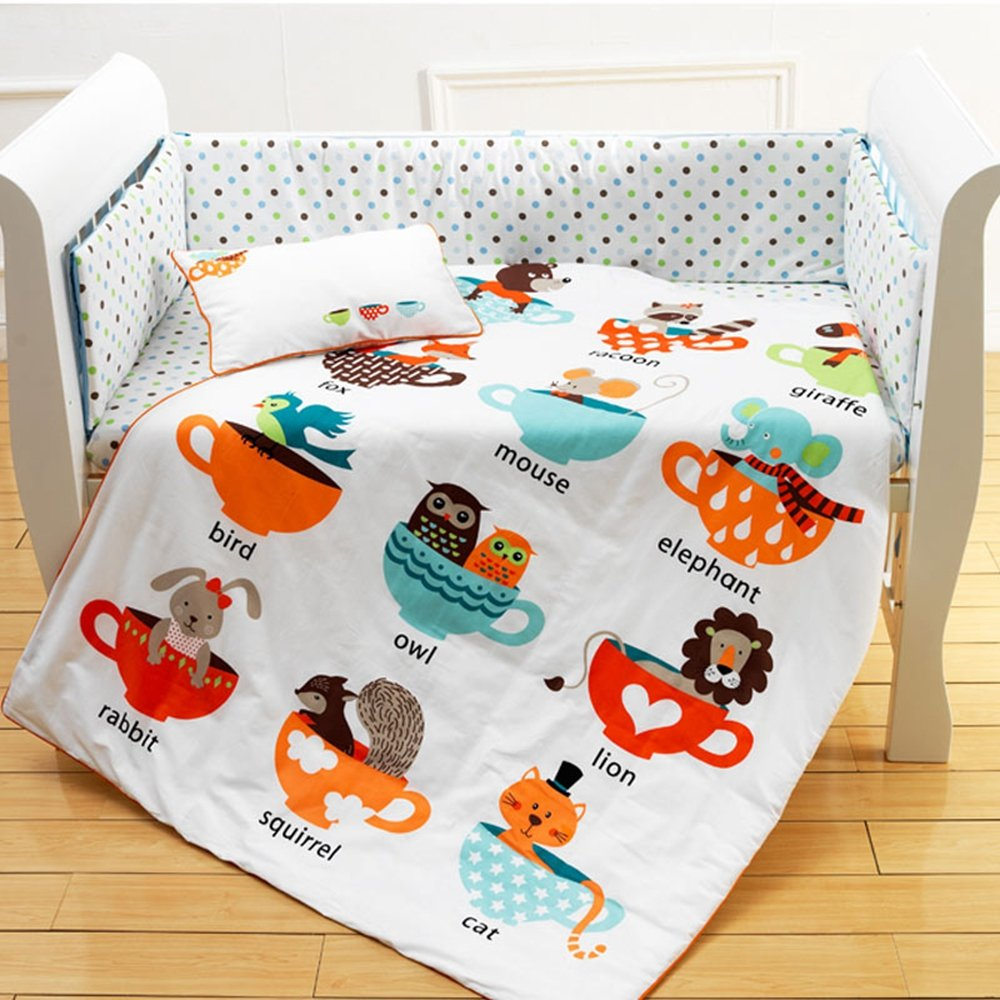 1cc98e2b99414 I-baby Parure de lit bébé nouveau-né Infant Parure de lit de berceau 4 pcs  Animal Safari 100% coton imprimé Drap de lit Housse de couette Taie  d oreiller ...