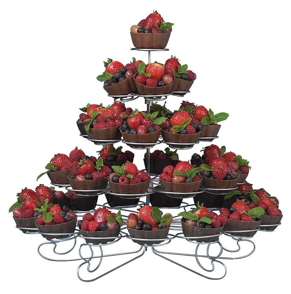 U.S. Cake Supply® Brand 41 Count Metal Cupcake Dessert Stand with 5 Tiers - Great for Holiday & Birthday Parties - Halloween - Thanksgiving - Christmas - 4th of July - Valentines Day - Birthdays - Use with Themed Wilton Cupcake Baking Cups