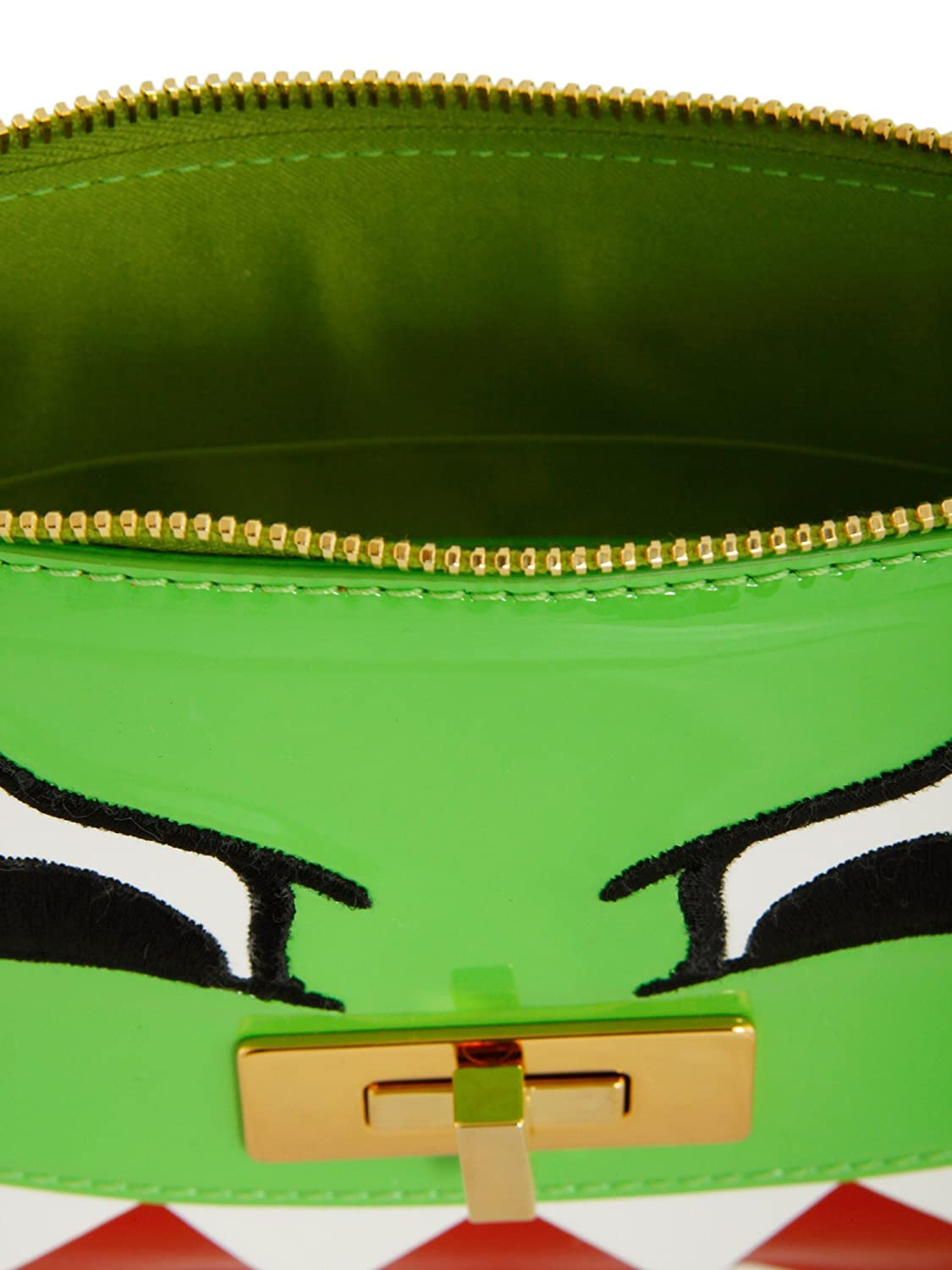 Moschino Cheap and Chic Italy Dino Green Patent Leather Monster Clutch New