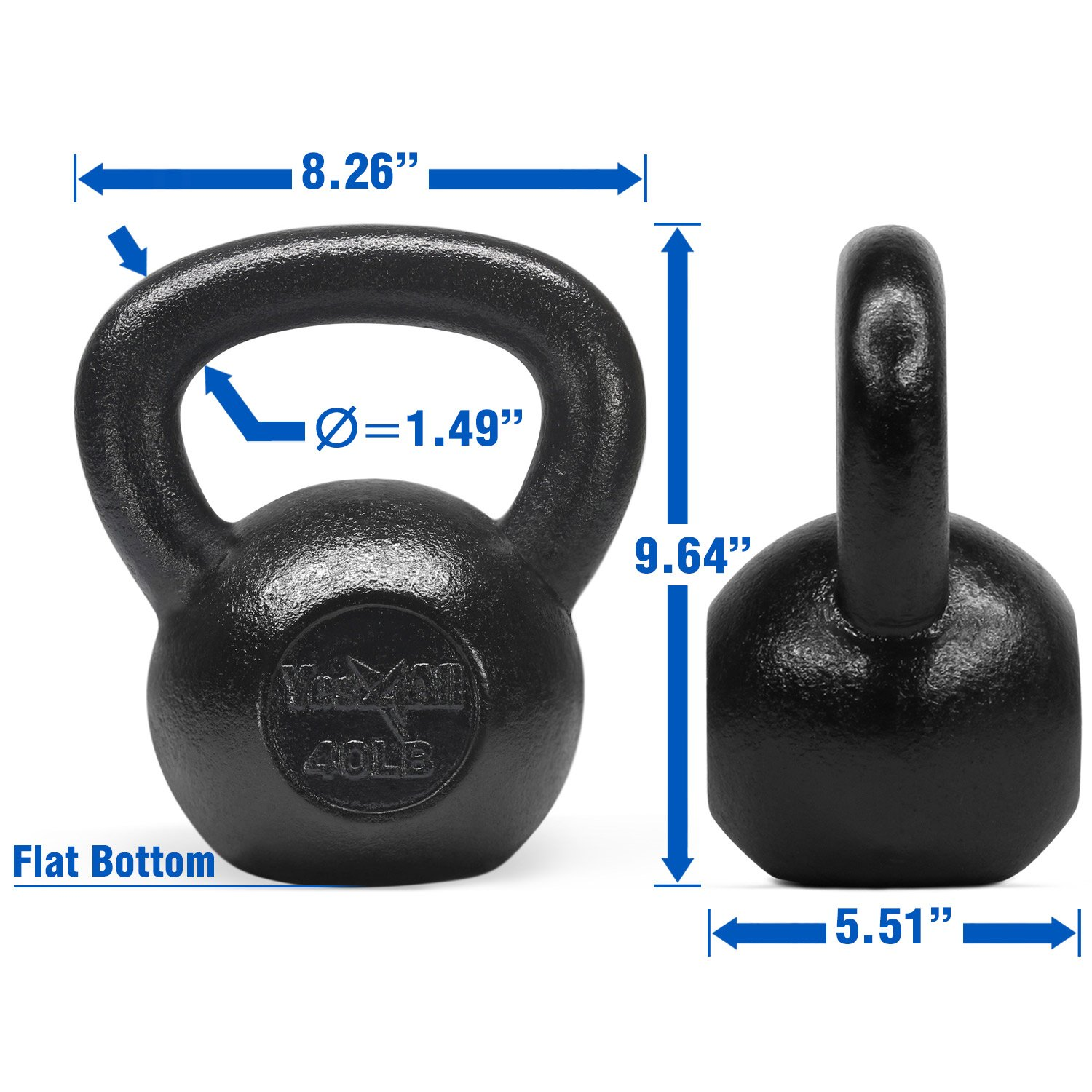 Yes4All Solid Cast Iron Kettlebells – Weight Available: 5, 10, 15, 20, 25 to 80 lbs (K - Black 40lb) by Yes4All (Image #3)
