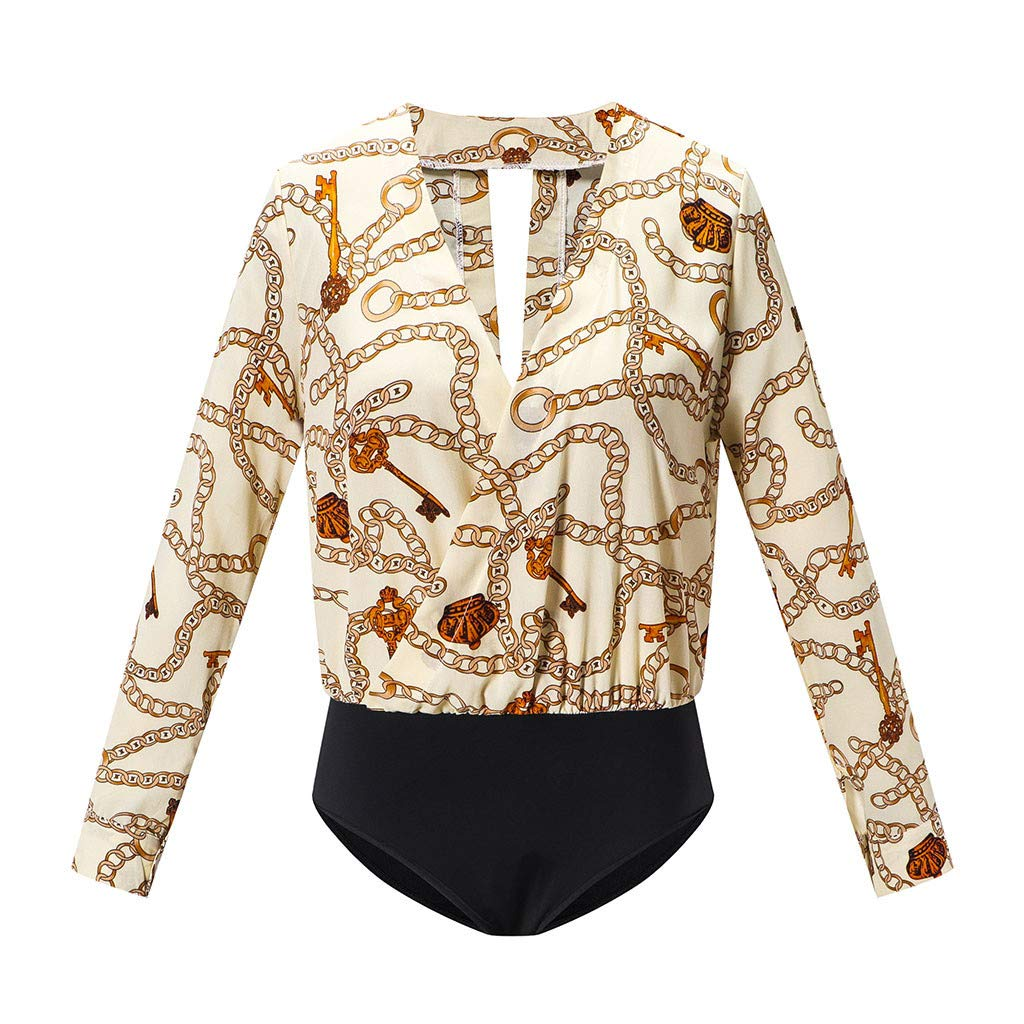 Women's Bodycon Jumpsuit Sexy V-Neck Leopard Blouse Bodysuit Long Sleeve Romper Thong Top One Piece Beige