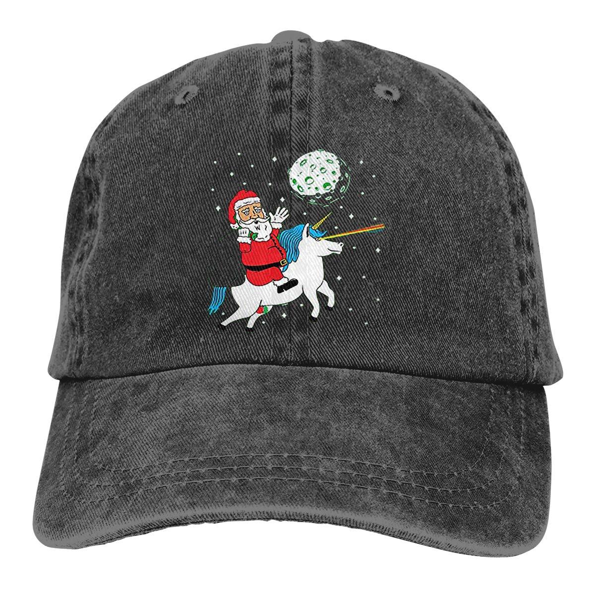 HU MOVR Santa Riding Cowboy Hat Baseball Hats Trucker Adjustable Cap for Mens Womens