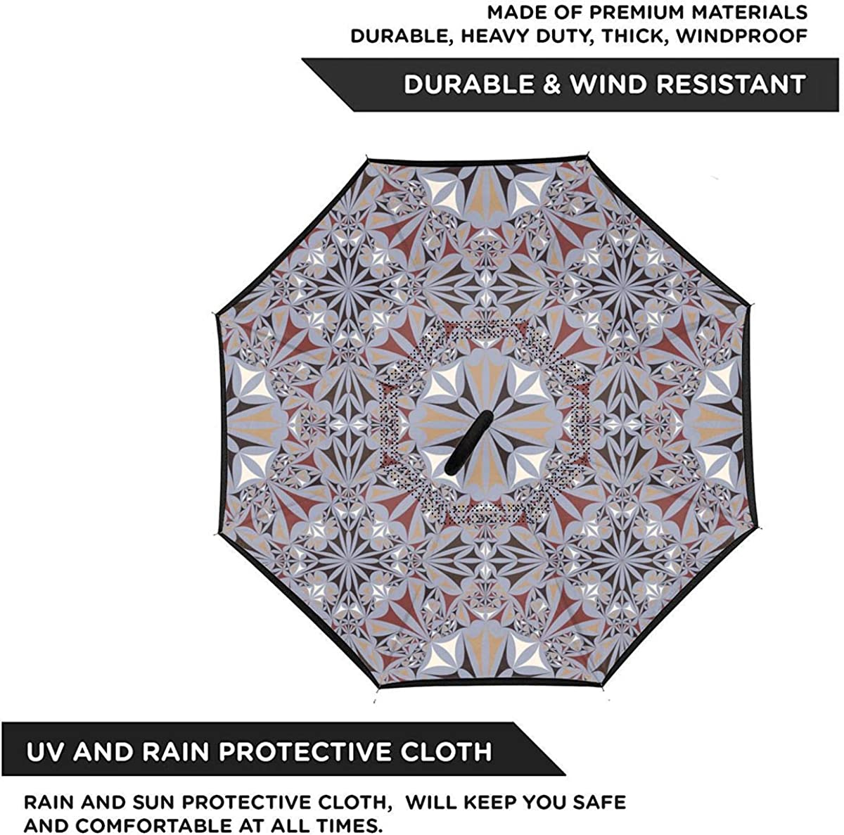 Reverse Umbrella Double Layer Inverted Umbrellas For Car Rain Outdoor With C-Shaped Handle Triangle Pattern Kaleidoscope Seamless Texture Personalized