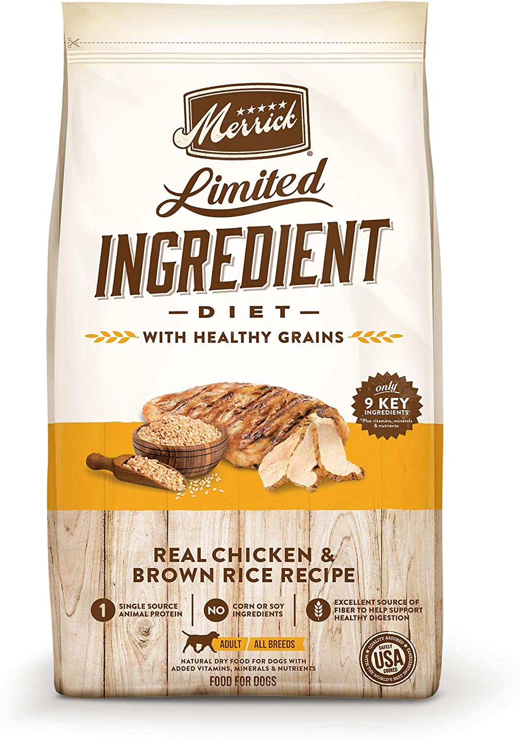 Merrick Limited Ingredient Diet Chicken & Brown Rice Recipe Dry Dog Food, 4 lbs.