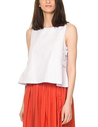 Ryujee Women's Hegoa Women's White Striped Shirt In Size L White