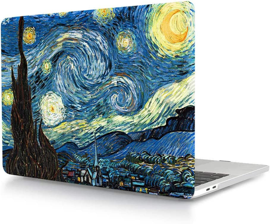 """HRH Starry Night Laptop Body Shell PC Protective Hard Case for MacBook New Pro 15"""" with Touch Bar A1707 A1990(2018 2017 2016 Release)"""