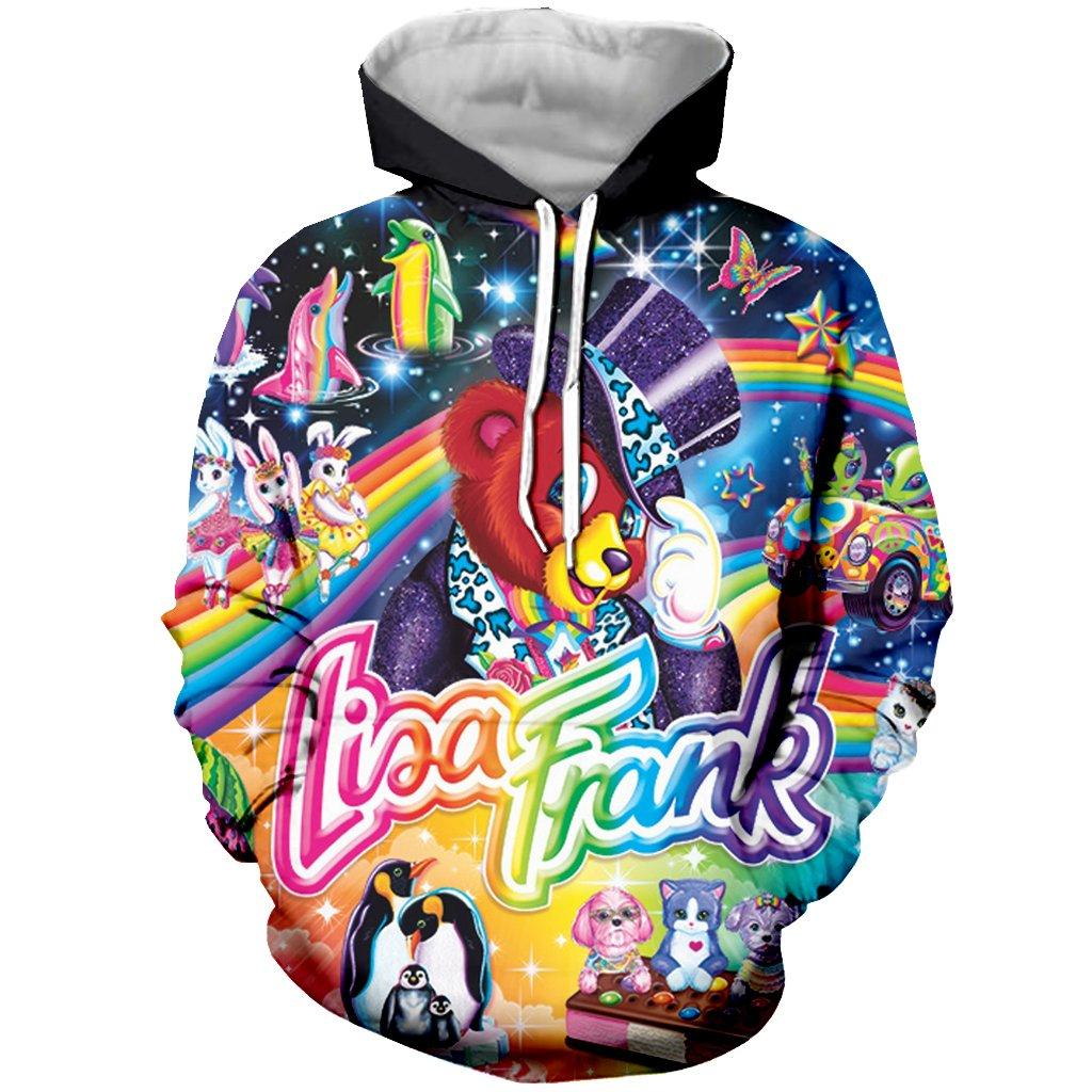 YX GIRL Lisa Frank Hoodies Unisex 3D Print Pullover Sweatshirt Pockets Hoodies Funny Hoodies (M, Lisa Frank)