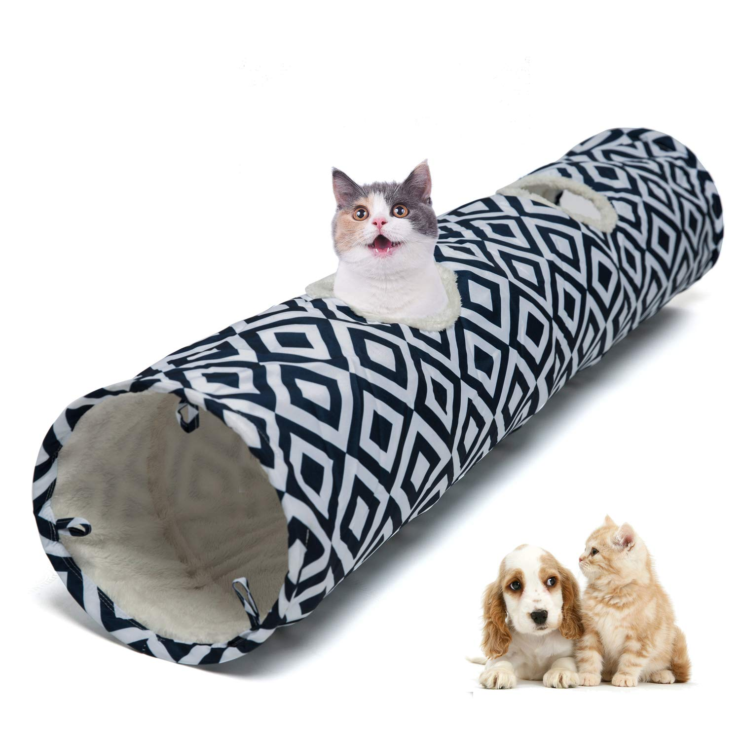 Luckitty Large Cat Toys Collapsible Tunnel Tube with Plush Balls, for Rabbits, Kittens, Ferrets,Puppy and Dogs,Navy,Blue,White by Luckitty