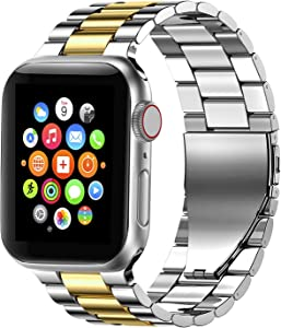Fitlink Stainless Steel Metal Band for Apple Watch 38/40/42/44mm Strap Replacement Link Bracelet Band Compatible with Apple Watch Series 6/54/3/2/1/SE(Silver/Gold,38/40mm)