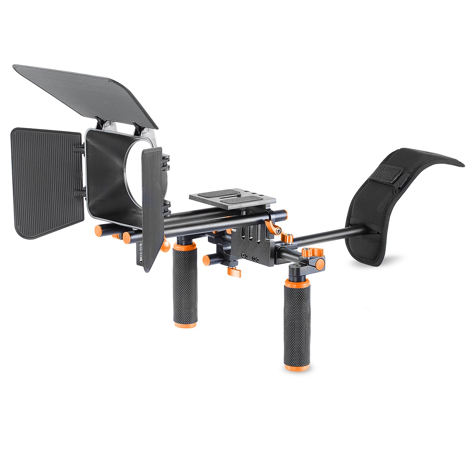Neewer Camera Movie Video Making Rig System Film-Maker Kit for Canon Nikon Sony and Other DSLR Cameras,DV Camcorders,Includes: Shoulder Mount,Standard 15mm Rail Rod System,Matte Box (Orange and Black)