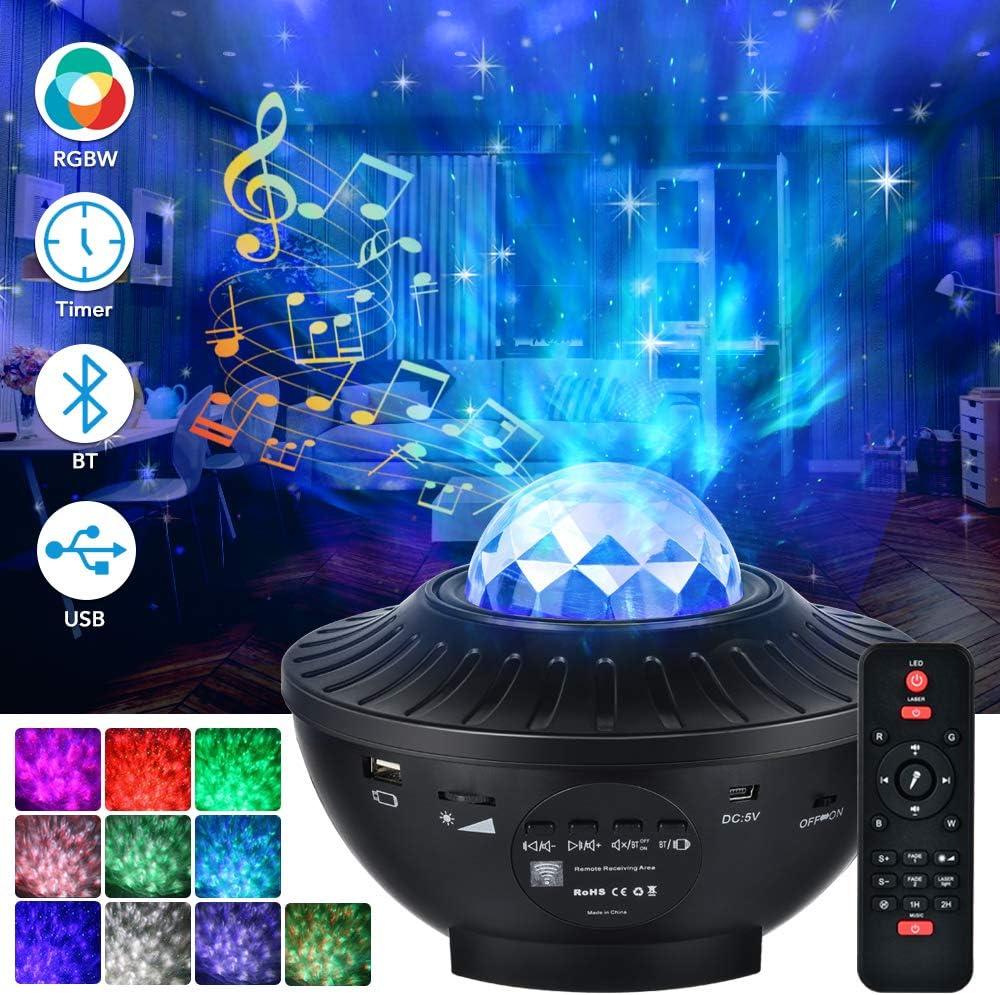 Proyector Estrellas, 21 Modos Lámpara Proyector Giratorio de Luz Estelar con Controlar Remoto Altavoz Bluetooth y Temporizador para Dormitorio de Niños, Fiestas, Regalos y Decoración del Hogar