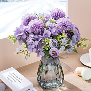 MALOOW Artificial Flowers Bouquet with Vase Fake Peony Silk Hydrangea Wildflowers, Flower Centerpieces Home Decor for Tables with Vase (Purple)