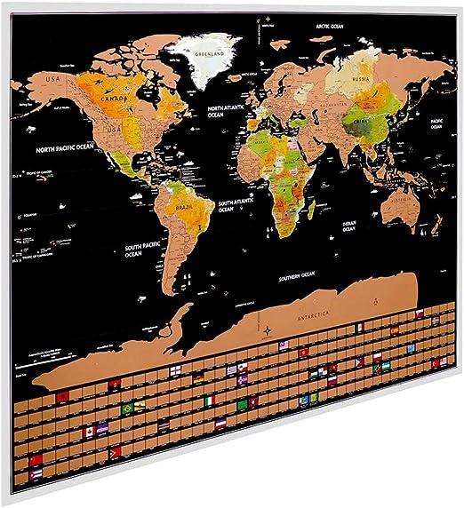 Redlemon Mapa Mundial Para Rascar con Países Estados Ciudades y Banderas del Mundo Fondo de Colores Póster Laminado y Resistente Estilo Vintage T