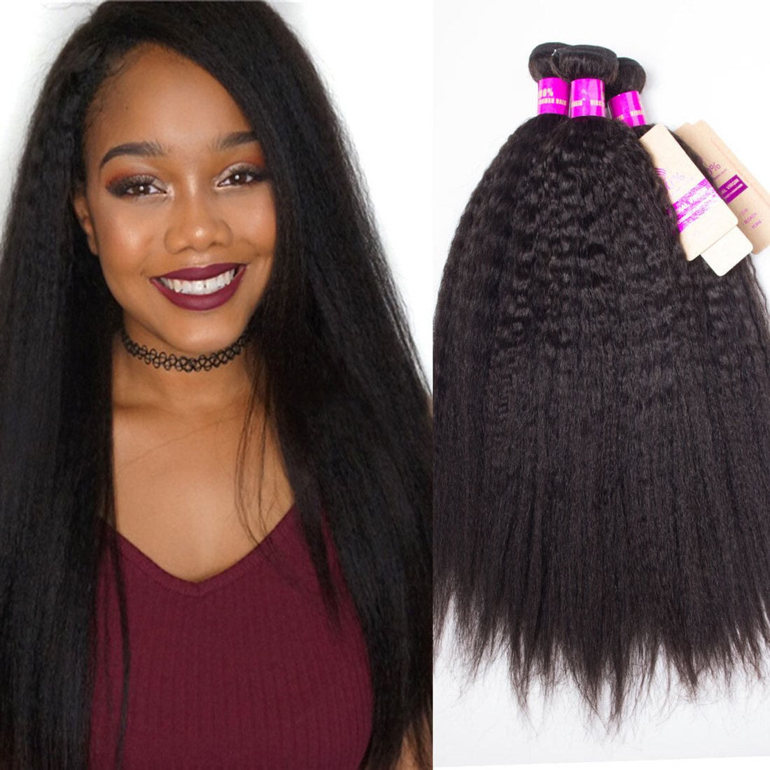 Amazon.com   Tinashe 10A Brazilian Kinky Straight Hair 4 Bundles Saw in Human  Hair Extensions Natural Color Yaki Straight(18 20 22 24)   Beauty be991651c0b8