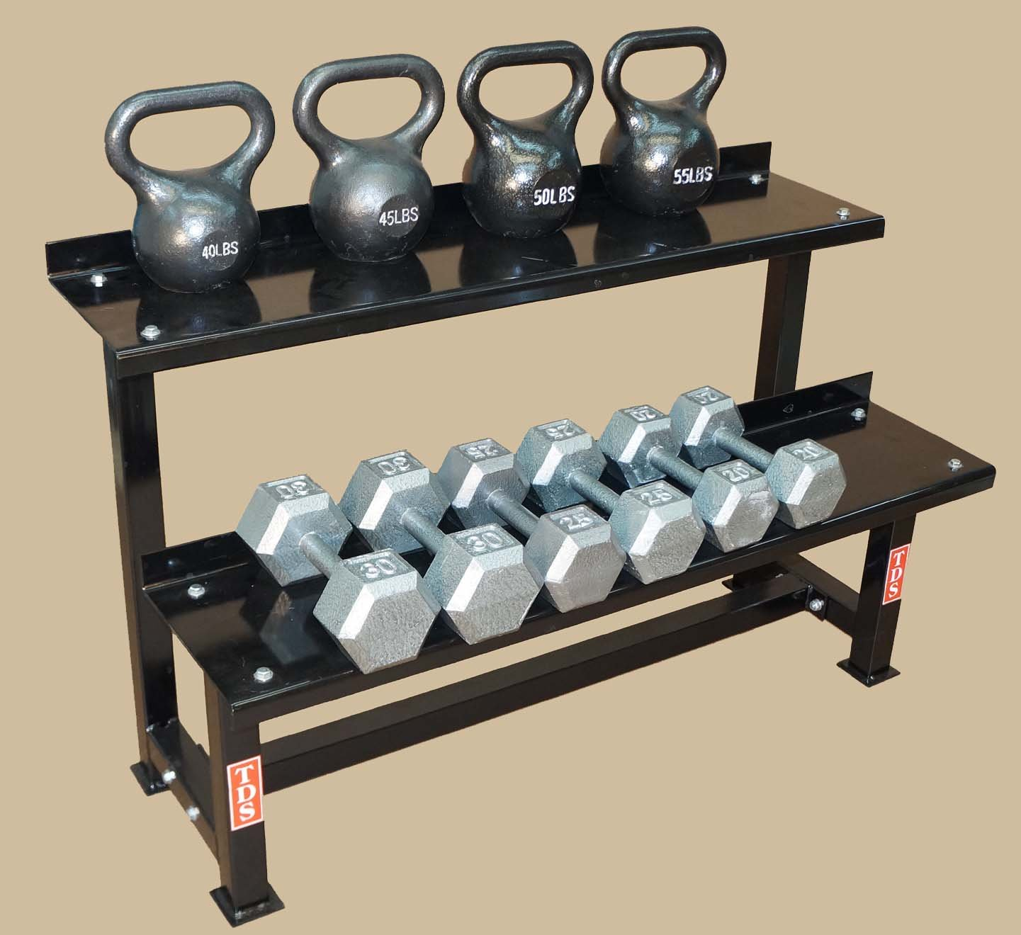 TDS Fitness Kettlebell, Dumbell Combo 48'' Rack. Made in the USA by TDS