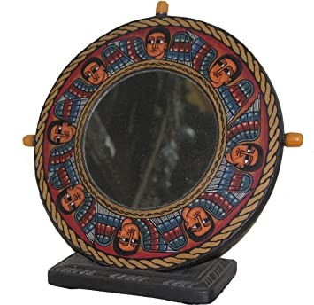 Charmant Ethiopian Home Decor   Leather Padded Mirror With Wooden Frame