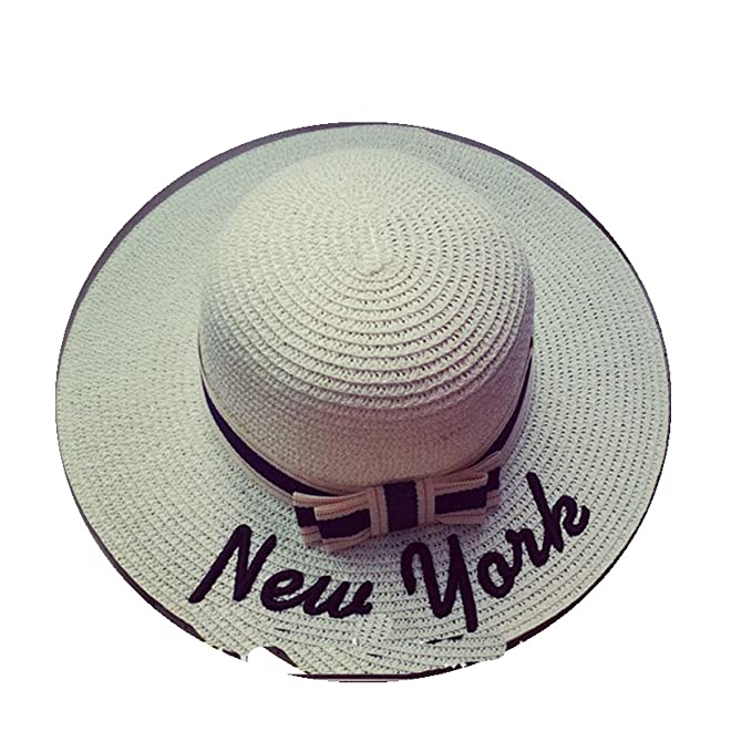 a2628c74545 Image Unavailable. Image not available for. Color  Hot Sale New York Letter  Seaeside Sun Hats for Women Summer Large ...