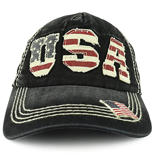 Trendy Apparel Shop Vintage Frayed USA Patch 5-Panel Washed Cap With  Metallic USA Flag 6b97c11cf697