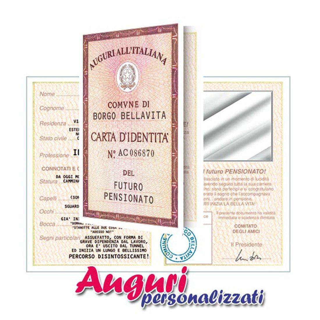 Biglietto auguri carta d'identità pensionato Bombo