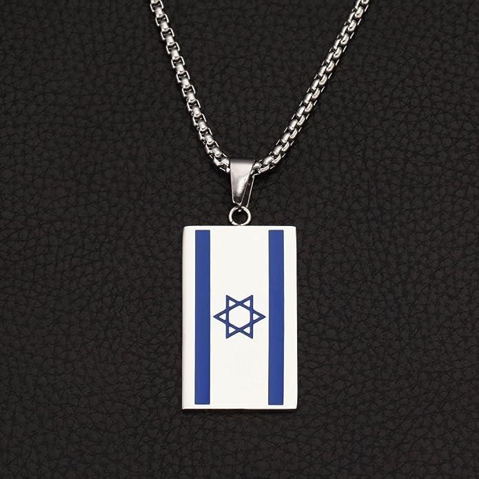 /étoile de David Collier Middle Eastern Judaisme Juif Bijoux Pendentif Drapeau dIsra/ël en acier inoxydable