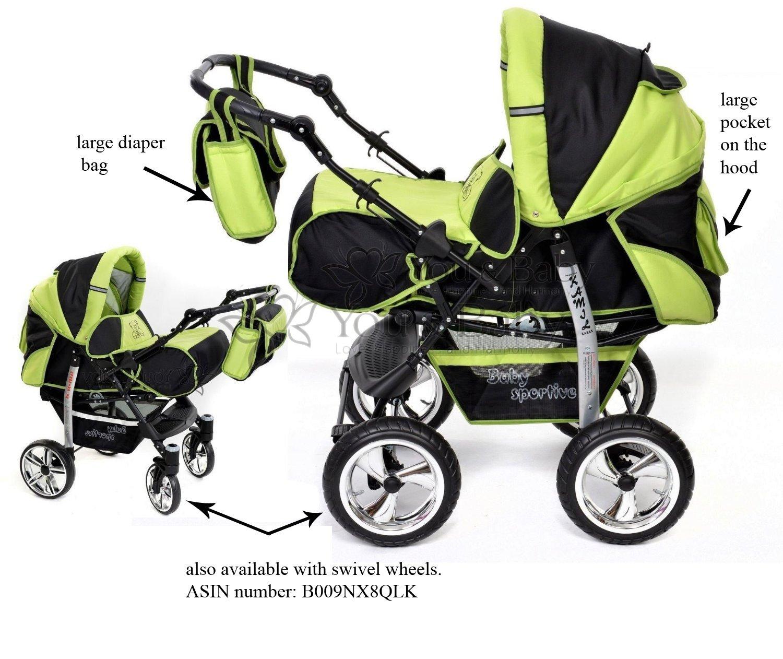 Sistema de viaje 3 en 1, negro, verde silla de paseo Sistema de viaje 3 en 1 Kamil RUEDAS EST/ÁTICAS y accesorios carrito con capazo y silla de coche