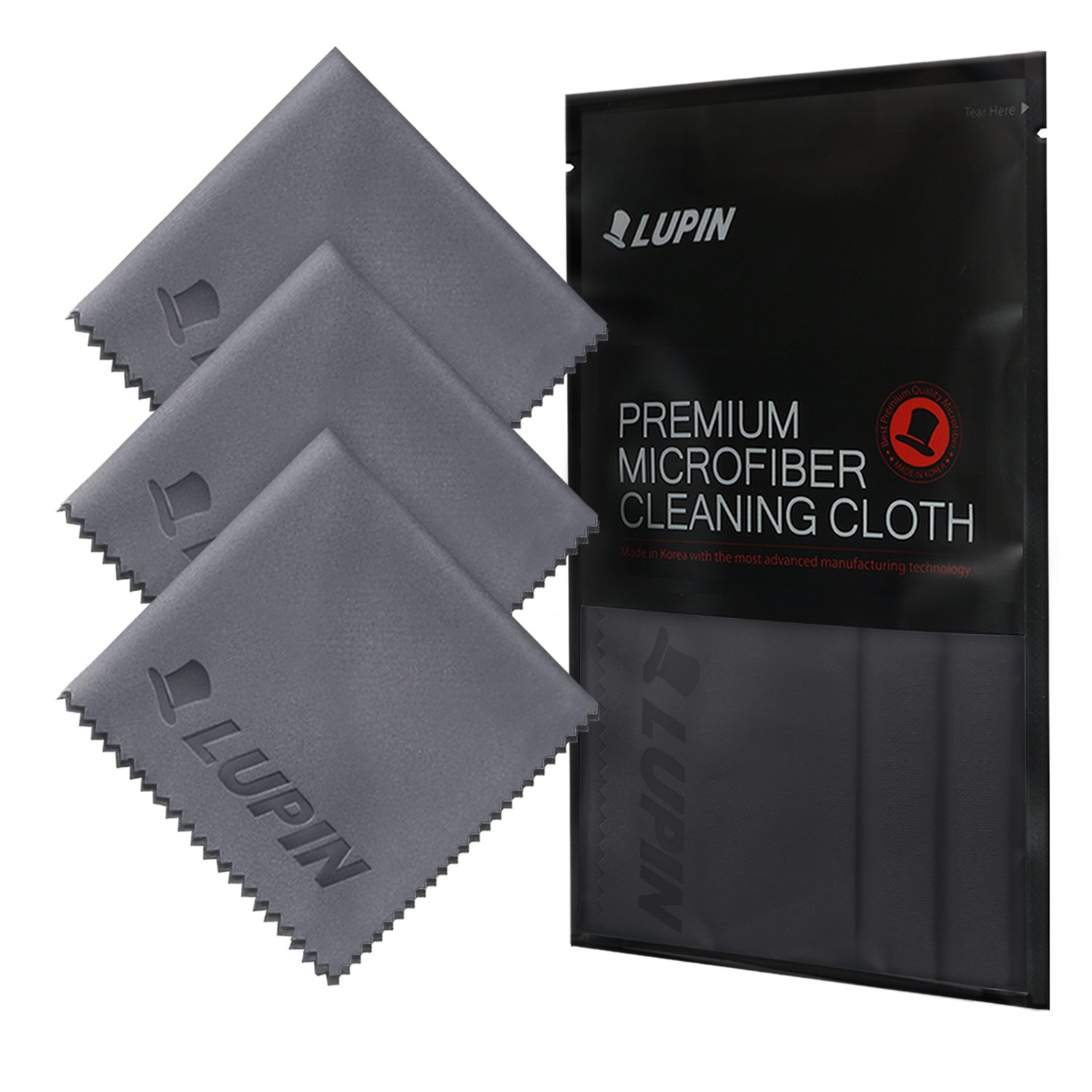 Lupin Microfiber Cleaning Cloths, Large 4 Pack Premium Ultra Lint Polishing Cloth for Cell Phone, Tablets, Laptops, iPad, Glasses, Auto Detail, TV Screens & Other Surfaces - Black LPN-L3-BK
