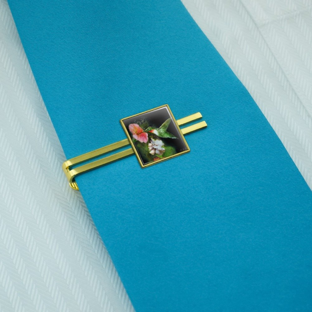 Graphics and More Rubys Hummingbird Flower Garden Square Tie Bar Clip Clasp Tack Silver or Gold