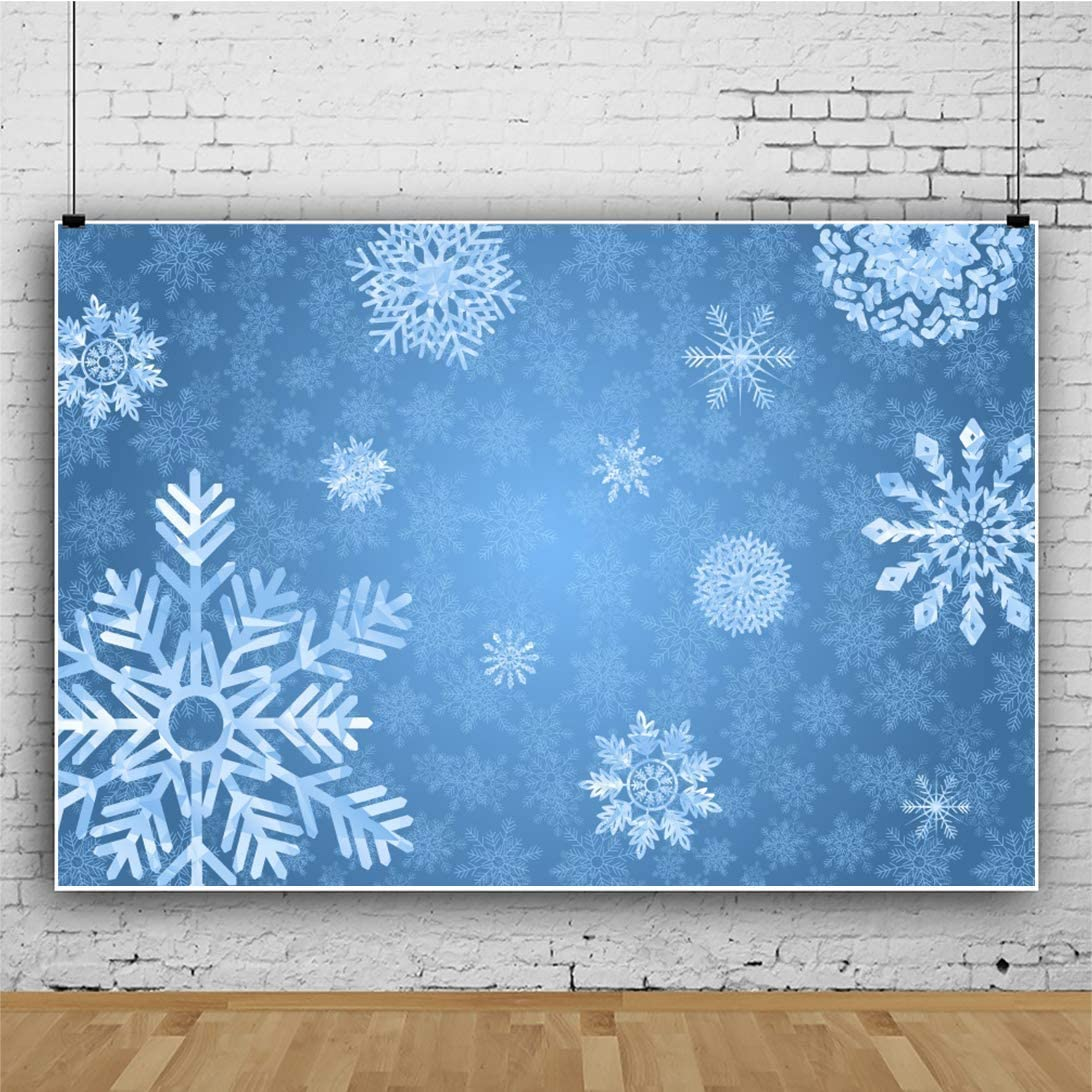 Abstract Snowflakes Photogrphy Backdrop 8x6.5ft Merry Christmas Blue Background Cartoon White Snow Flake Snowscape Blue Winter New Year Christmas Holiday Party Baby Kids Portrait Shoot Decor