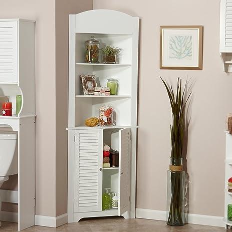 Tall Corner Etagere With White Shutter Door Corner CabinetRoom Décor  Furniture Corner Wall Cabinet Corner Storage