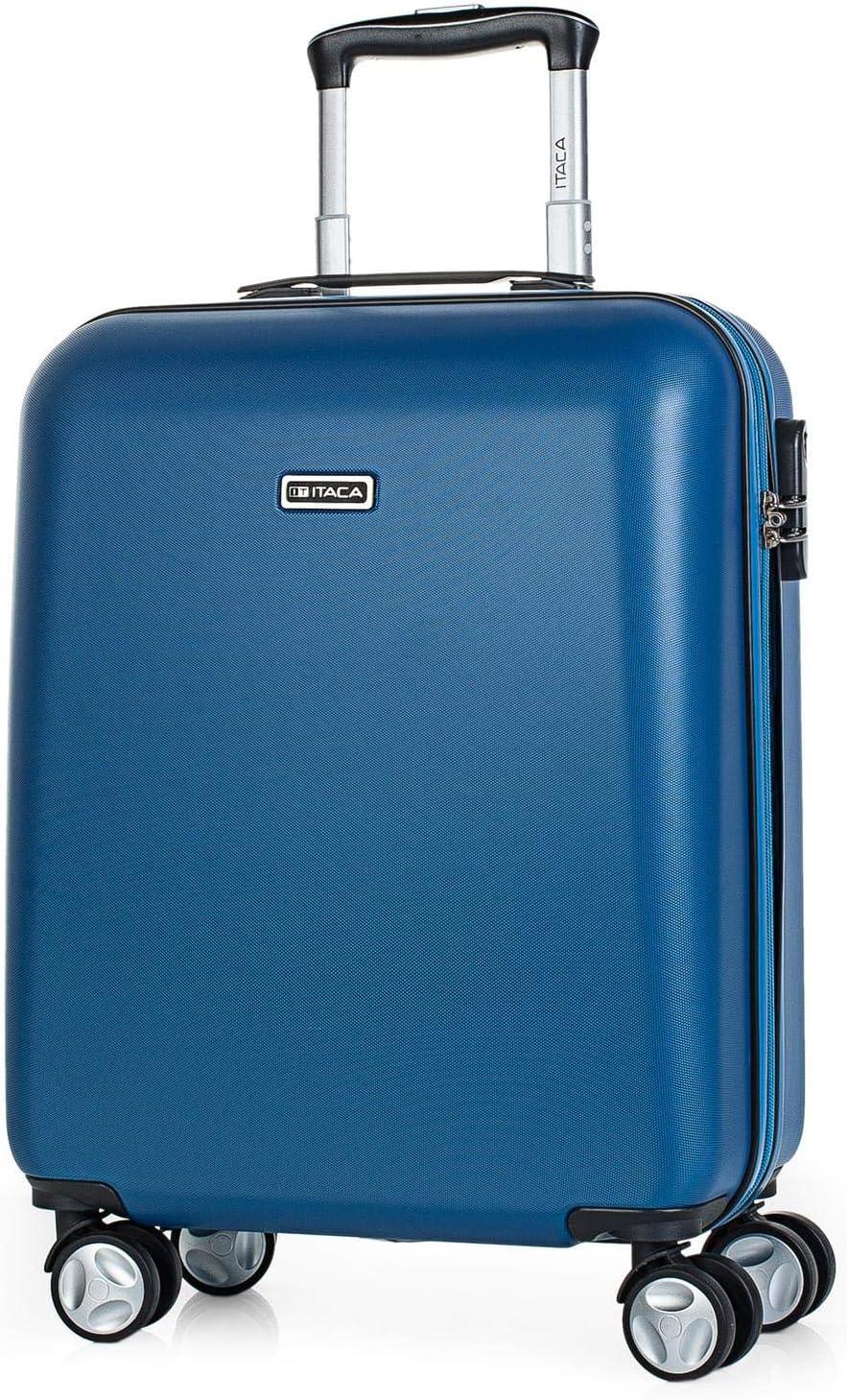 ITACA - Maleta de Viaje Cabina 55x40x20 cm 4 Ruedas Trolley ABS. Equipaje de Mano. Rígida Resistente y Ligera. Mango Asas Candado. Low Cost Ryanair. T58050, Color Azul Vaquero