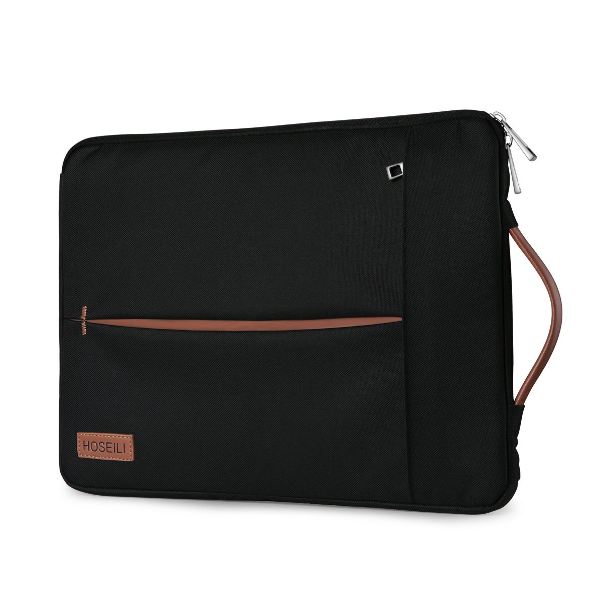 13-13.5 Inch Laptop Sleeve Hoseili Water Resistant Briefcase with Leather Handle for Apple New Macbook Pro/Macbook Air, Shockproof Lightweight Case for Most 13'' Ultrabook Surface Dell HP - Black