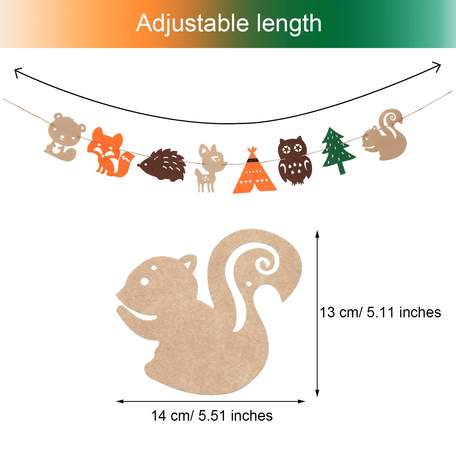 Chuangdi 4 Pieces Woodland Creatures Banner Forest Animals Felt Garland for Woodland Theme Baby Shower Wedding Birthday Party Supplies