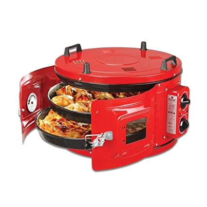 RED COLOR Commercial Round Countertop Drum Oven Bakery Snack Cookie Roaster Pizza Multipurpose Oven 220V 2
