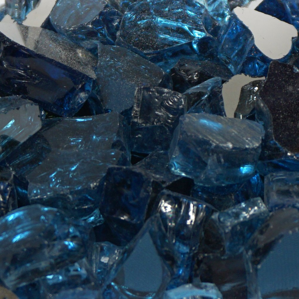 Blue Lagoon Metallic / Pacific Blue Reflective Fire Glass - 1/4 Inch Reflective FireGlass - 10 Pounds - Designed for Fire Pits and Fireplaces